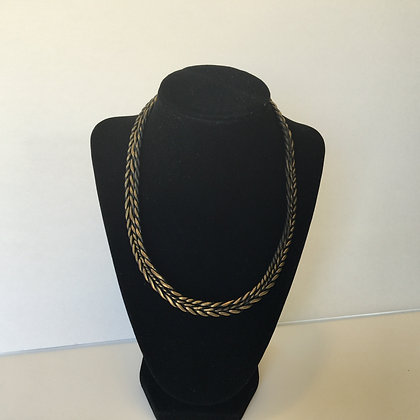 Double sided bib necklace - gold and bronze accent