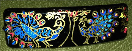 Peacock - Hand painted hair clip