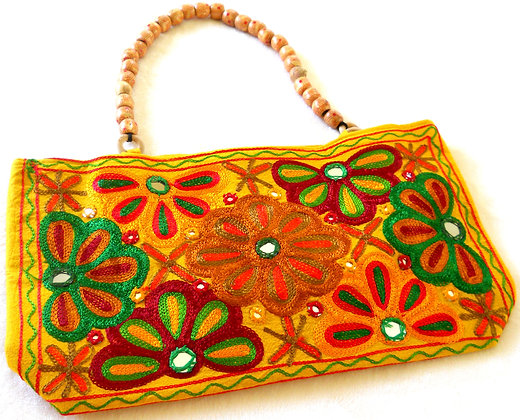 Wood bead handle handbag
