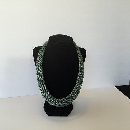 Sea green clay bib necklace