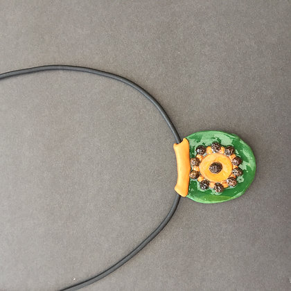 Peppered green clay necklace