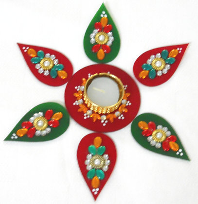 Green red Rangoli - hand made