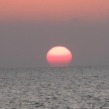 愛媛チャリティ100kmあるくぞなもし 五色浜の夕日
