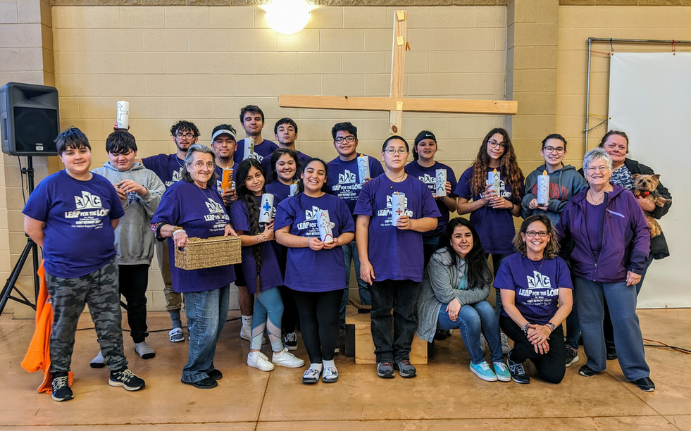 Group photo featuring 2020 Youth Ministry Lenten Retreat participants and leaders.