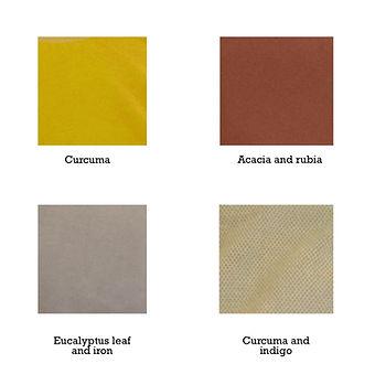 in-house dyed with curcuma, acacia, rubia, eucalyptus leaf, iron, and indigo