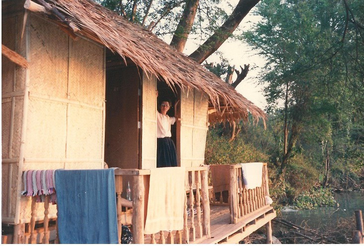 Mum on the hut beside the river Kwai. The hut features in Laura's story.