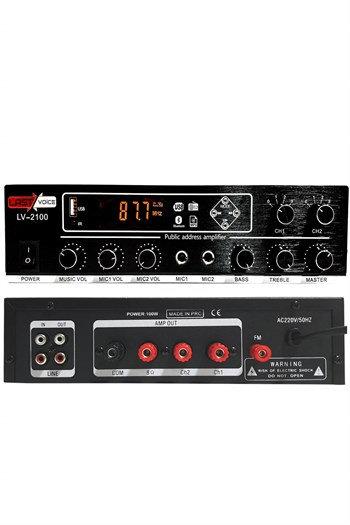 Lastvoice Lv-2100 Hat Trafolu 2 Bölgeli Stereo Anfi 2x100W Usb-Bt