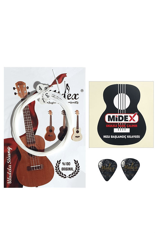 Midex Ukc-300 Ukulele Teli 1 Takım Soprano Concert Tenör (Metod Pena Hediye)