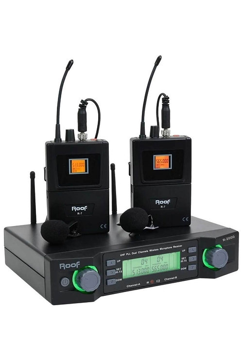 Roof R-2000YY Profesyonel Telsiz Kablosuz Yaka Mikrofonu Çiftli UHF