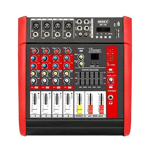 Midex MP-700 Power Mikser Amfi 2x350W 4 Kanal Dsp Efekt EQ Usb