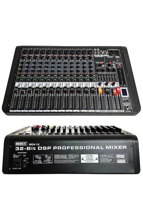 Midex MDX-12 12 Kanal Ses Mikseri Multi Efekt Bluetooth EQ Usb
