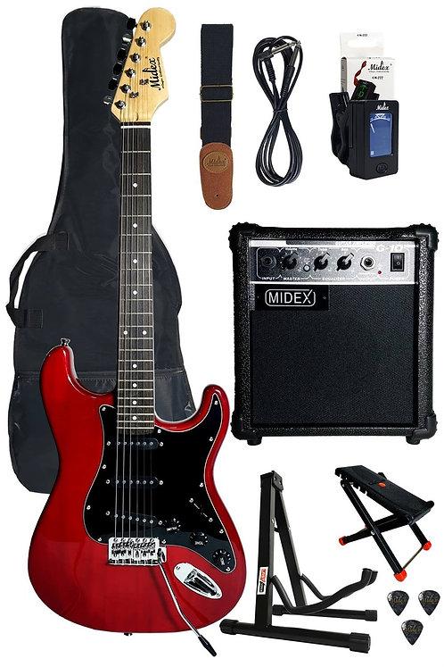 Midex RPH20-AMP RED Set Elektro Gitar ( Amfi, Askı, Stand, Tüner, Kablo )