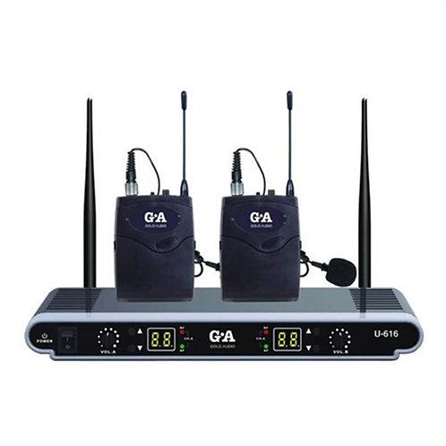 Gold Audio U-616YY Çiftli Yaka Tipi Telsiz Kablosuz Mikrofonu