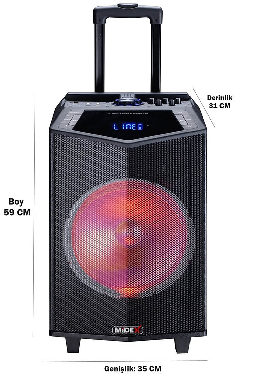 Midex MXR-800 Taşınabilir Seyyar Mikrofonlu Akülü Ses Sistemi Hoparlör 800 Watt
