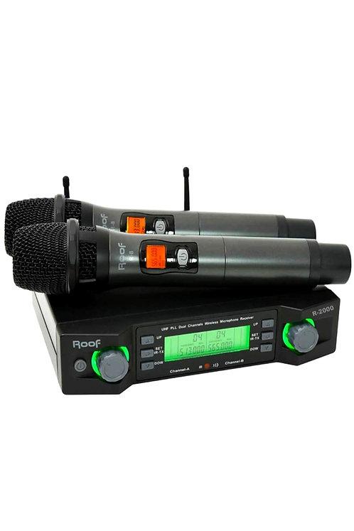 Roof R-2000EE Profesyonel Telsiz Kablosuz Mikrofon Çift EL UHF