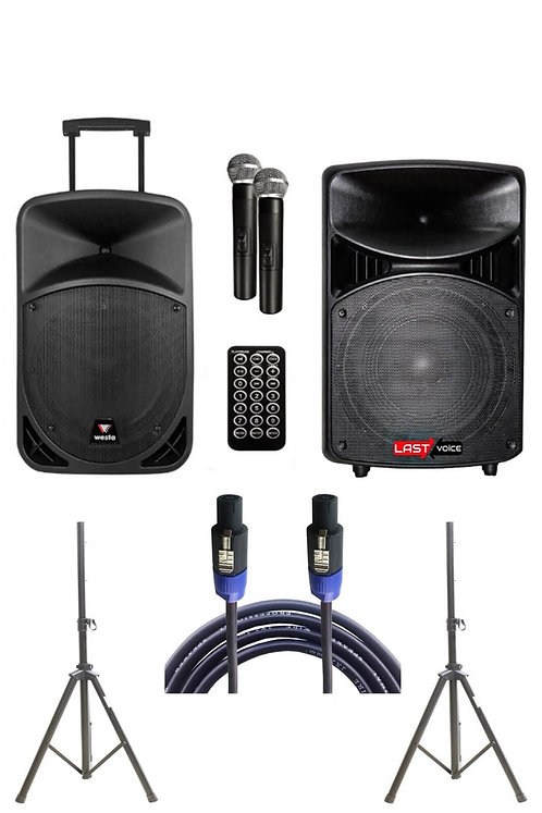 Westa Wap -12502A - Set Taşınabilir Ses Sistemi 250W+ 600W 2'li Set