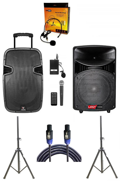 Westa Wap -15502C - Set Taşınabilir Ses Sistemi 300W +800W 2'li Set