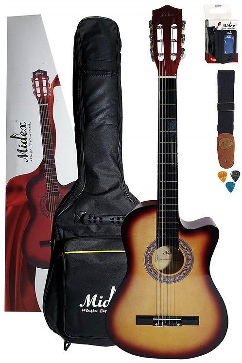 Midex G30 SB Kesik Kasa Sunburs Klasik Gitar 4/4 (Case Askı Tuner Pena)