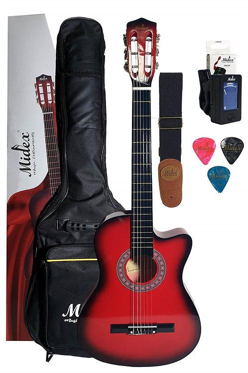 Midex G30 RD Kesik Kasa Kırmızı Klasik Gitar 4/4 (Case Askı Tuner Pena)