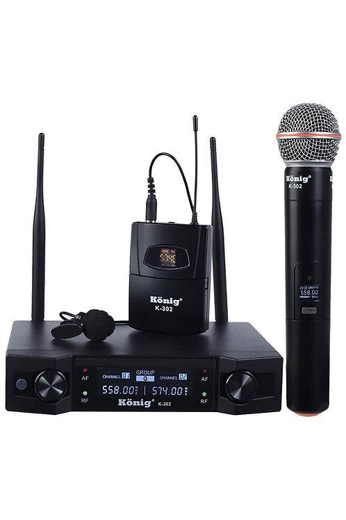 König K-302EY Çiftli Telsiz Kablosuz EL ve Yaka Mikrofonu