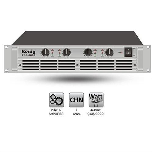 KÖNİG PRO-2808/S 4 Kanal Power Anfi 4x600 Watt