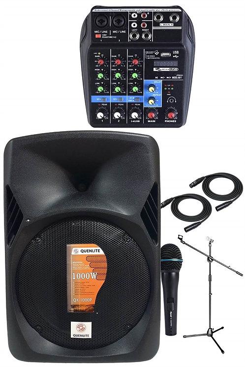 Quenlite Active Mix Set-2 Aktif Hoparlör ve Mixer Mikrofon Paketi 1000 Watt