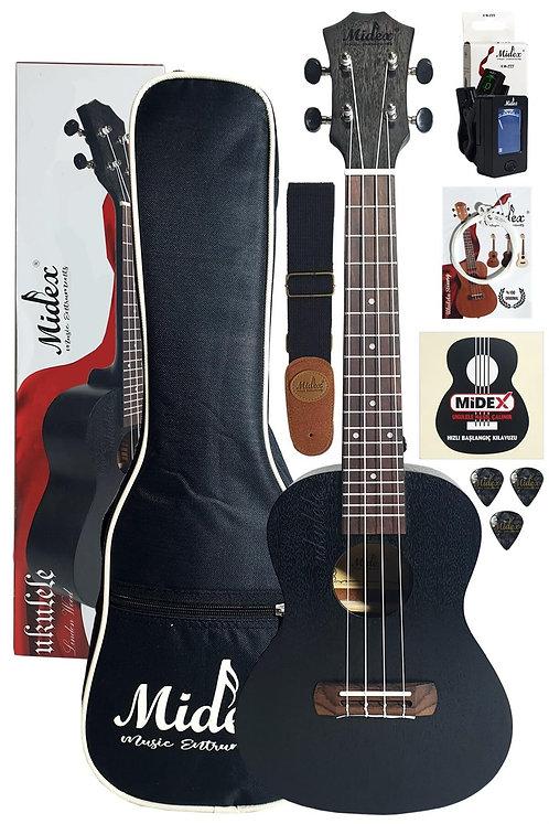 Midex CT-24 BK Set Siyah Concert Ukulele (Softcase Metod Askı Tun
