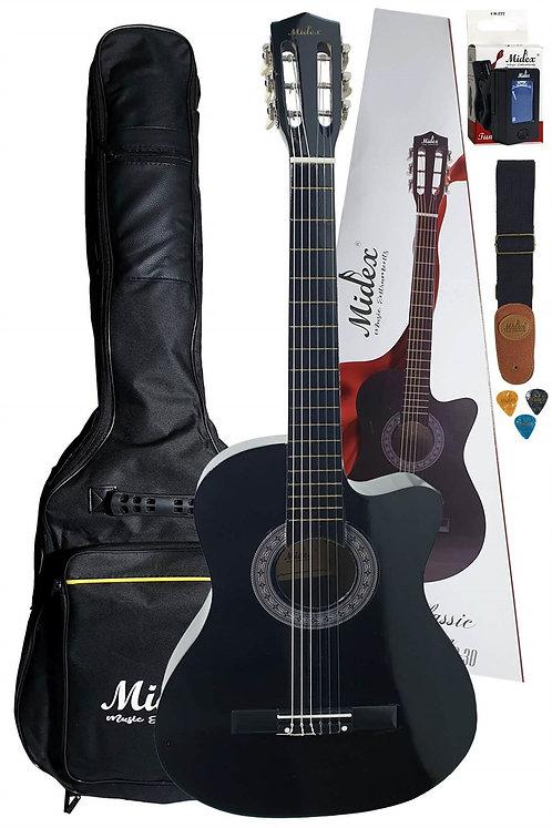 Midex G30 BK Kesik Kasa Siyah Klasik Gitar 4/4 (Case Askı Tuner Pena)