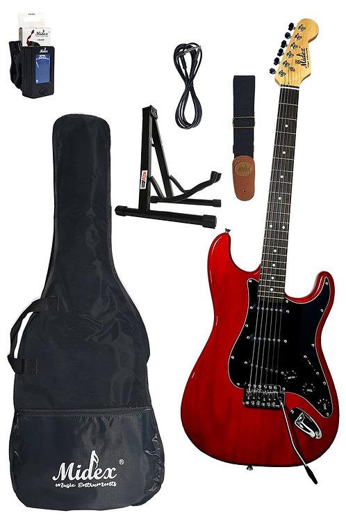 Midex RPH-20GX-RD Red Elektro Gitar (Askı, Stand, Tuner, Kablo
