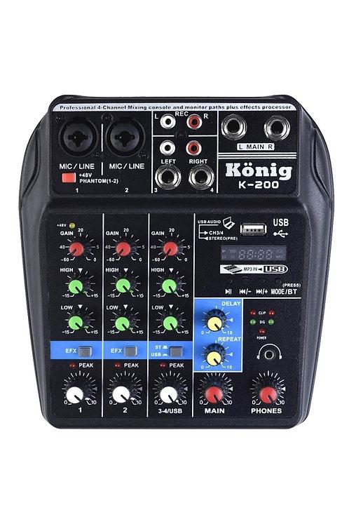 König K-200 4 Kanal Stüdyo Kayıt Deck Mikser