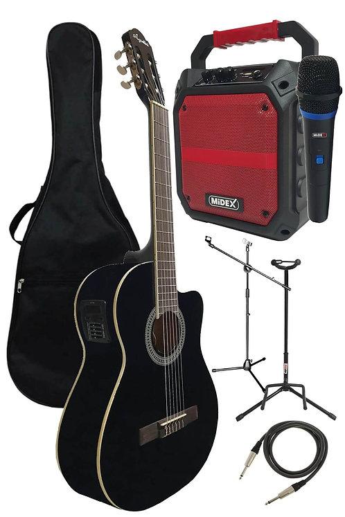 Midex HG39-150 Full Set Elektro Klasik Gitar ve Mikrofon Çanta Amfi