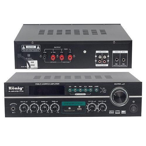 König K-166 150 Watt 4-8 Ohm USB-SD Kumandalı 3 Mik.Giriş Hat Trafolu Anfi