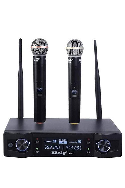 König K-302E Çiftli Telsiz Kablosuz EL Mikrofonu