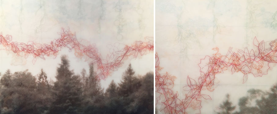 Variable Horizons, Echo 1, 2, 3, & 4 (detail). Encaustic, Colored Pastel and Wax on 4 Panels. 24 in x 12 ft, 2016
