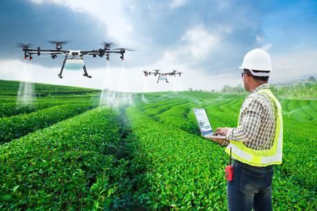 Technician farmer use wifi computer cont