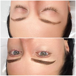 Microblading storks and micro shading combined to create that fluffy look for your brows