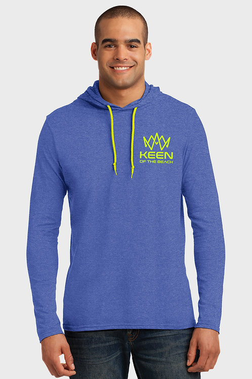 Men's Blue Heather 100% Combed Ring Spun Cotton Long Sleeve Hooded T-Shirt