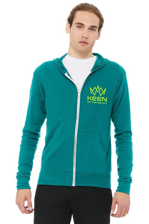 Teal Unisex Tri-blend Full-Zip Lightweight Hoodie