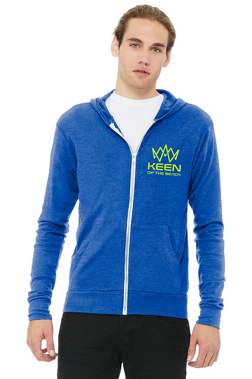 Royal Blue Unisex Tri-blend Full-Zip Lightweight Hoodie
