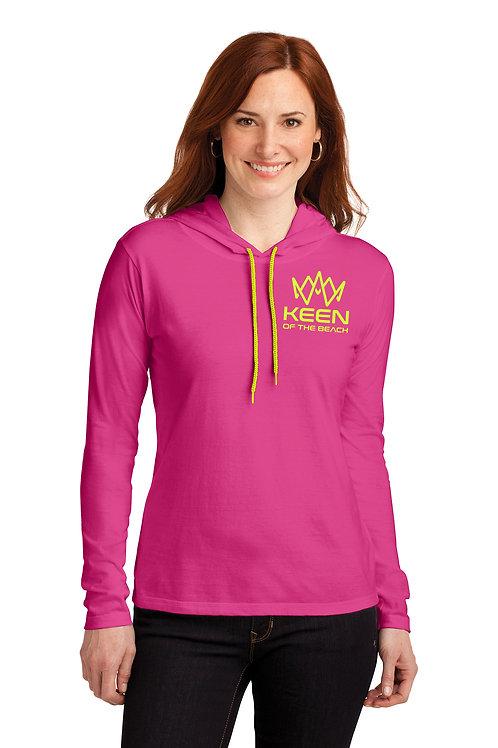 Ladies Pink 100% Combed Ring Spun Cotton Long Sleeve Hooded T-Shirt