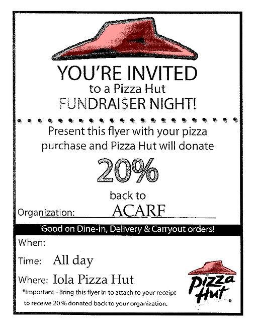 ACARF pizza hut fundraiser flyer templat