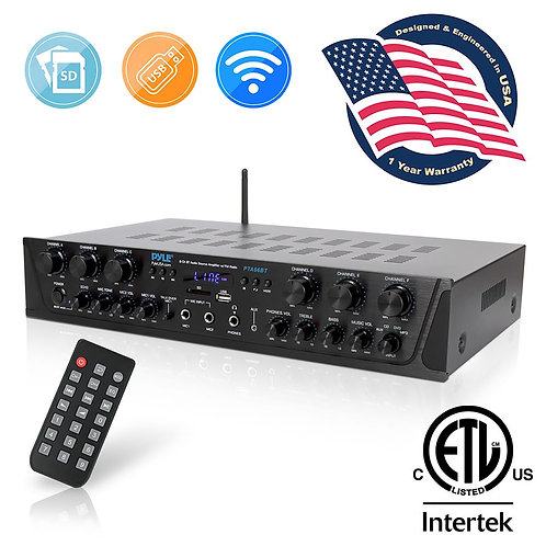 Bluetooth Audio Power Amplifier - 6-Ch Desktop Stereo Receiver System