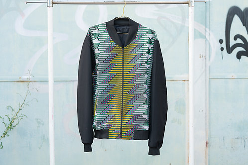 Blouson L - black uni color and green & yellow ankara body