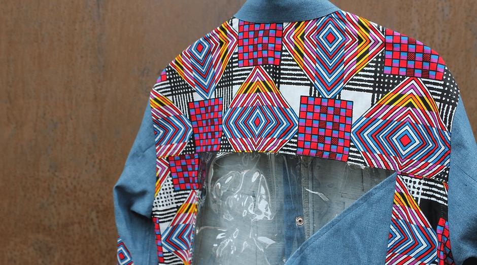 Transparency Jacket + shorts - Denim-Ankara with tarpaulin-applications