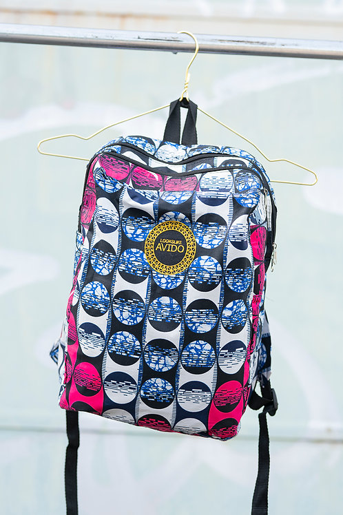 Backpack - blue & pink & white
