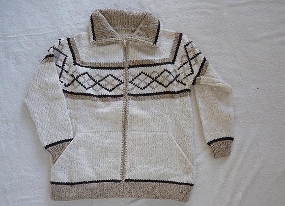 casaco de malha losango creme