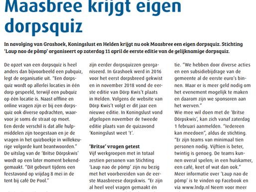 """In het nieuws: """"Maasbree krijgt eigen dorpsquiz"""""""