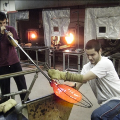 Experimenting with various glass blowing techniques at UCA