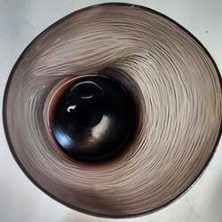 Inside of cut glass tumbler