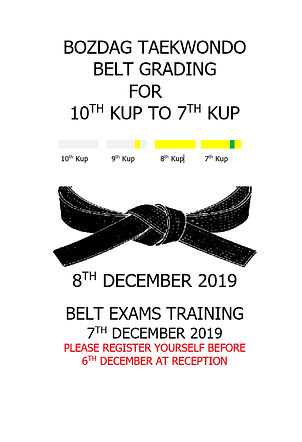 8TH DECEMBER 2019 (10TH KUP TO 7TH KUP)